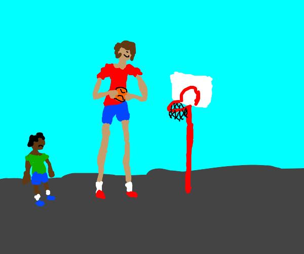 Really tall kid plays baseball
