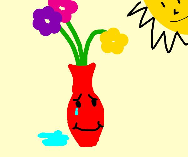 vase of flowers, happy tears