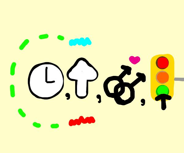 clock, up, gay, green-light (Symbols)