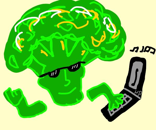 Broccoli man plays music on HP computer