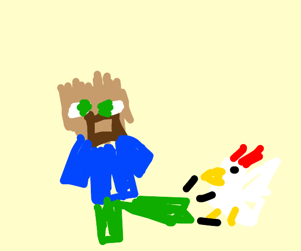 Bald minecraft Steve kicks a chicken