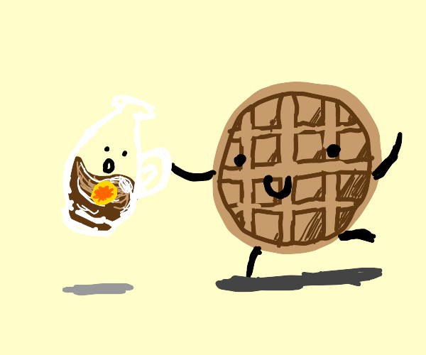 Waffle with limbs holds maple syrup