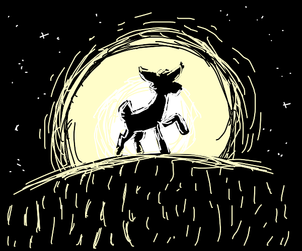 A female deer in the darkness