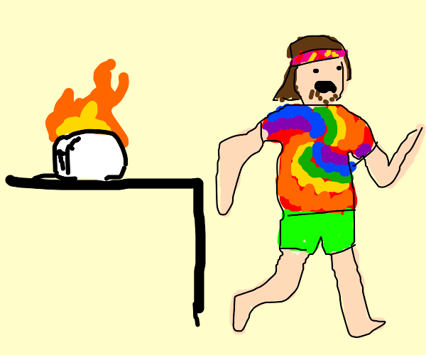 Hipster runs from toaster fire