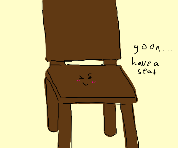 Smug winking chair wants you to sit on it
