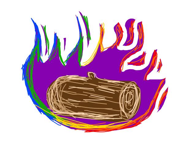 Log on fire (multi-color fire)