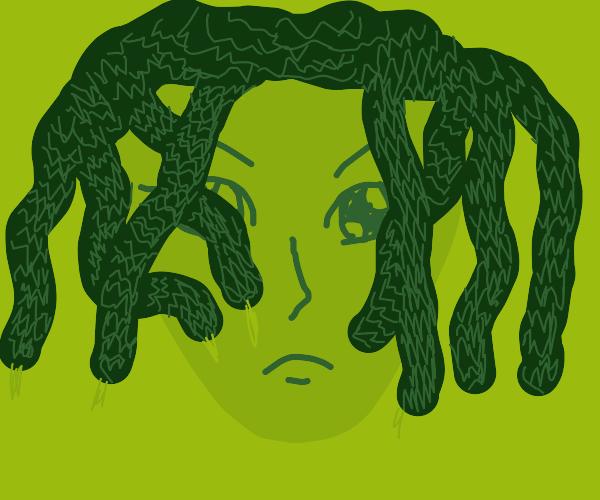 Medusa's sulking w/ hair covering her face