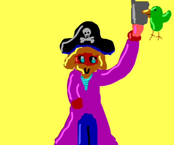 red pirate and his parrot both hold a cleaver