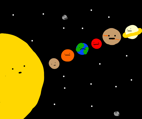 Planets orbiting sun but they're on one side