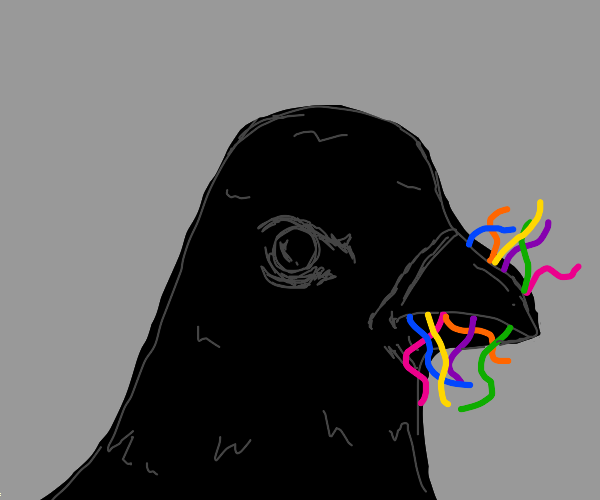 Displeased crow eating multicolored worms