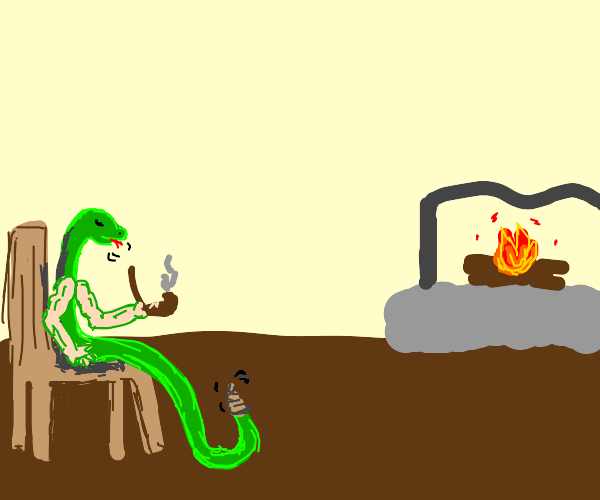 snake with arms sits on chair