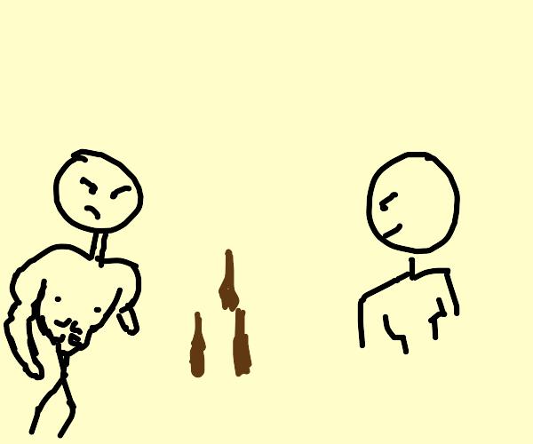 2 men 3 glasses