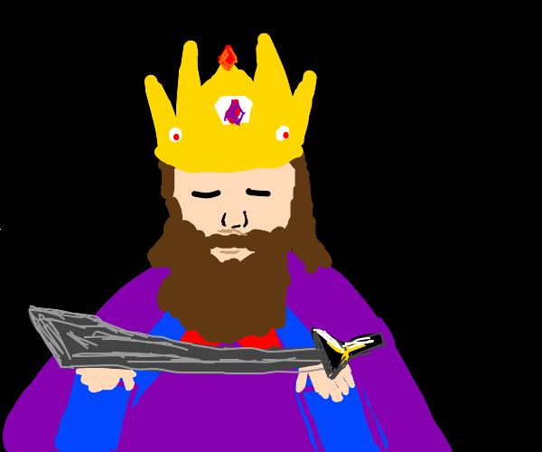 King holding sword