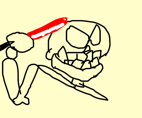 Skeleton with a lightsaber