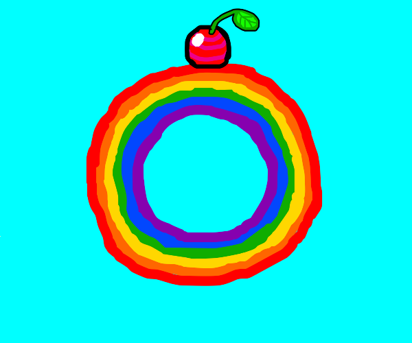rainbow circle with a cherry on top
