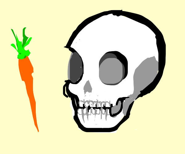 A bodyless skull has a carrot