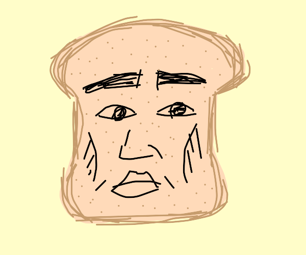 Human faced piece of bread