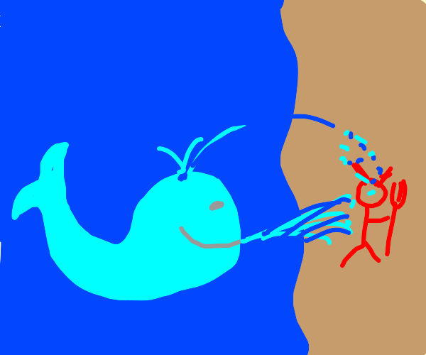 Whale blows water on the Devil