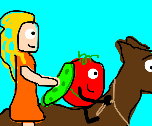 Tomato boy w/ picle cape rides horse w/ blnd