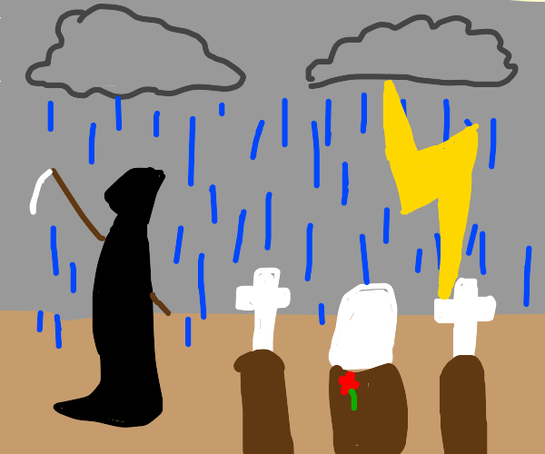 Death standing in a graveyard during a storm