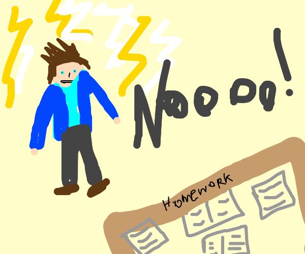 Percy Jackson hates homework intensely