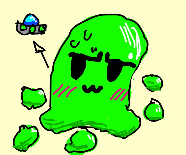 Green alien blob blushes