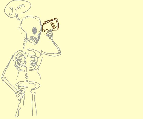 Skeleton eating Book