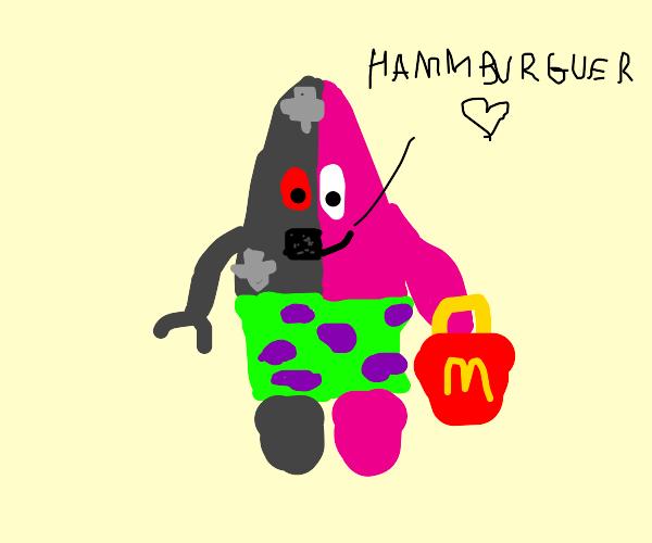 half robotic patrick buy burgers at mcdonald