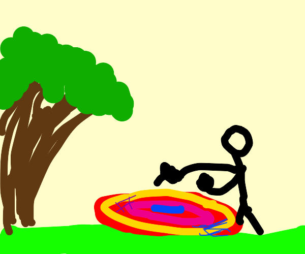 Stick man beats a rug with a finger by a tree