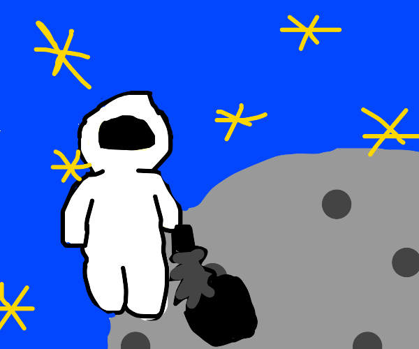 Space man mining the moon