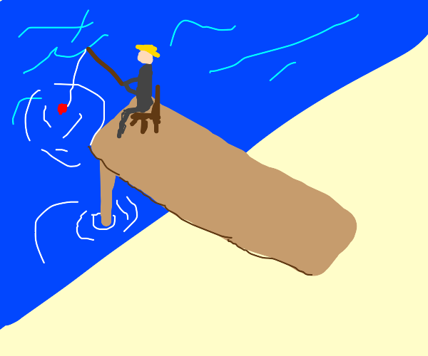 Old man fishing on dock for turds