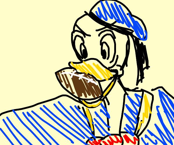 Donald duck eating a football