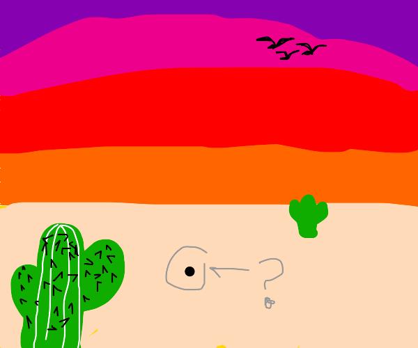 A black dot in the desert