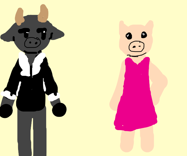 Bull in tuxedo looking at pig in purple dress