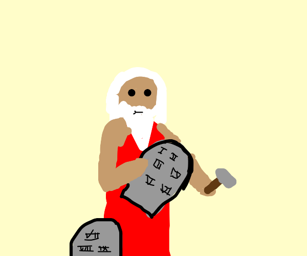 Man reading (or writing) the ten commandments