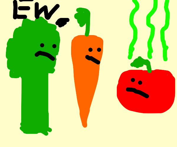 Broccoli and carrot think tomato smells bad