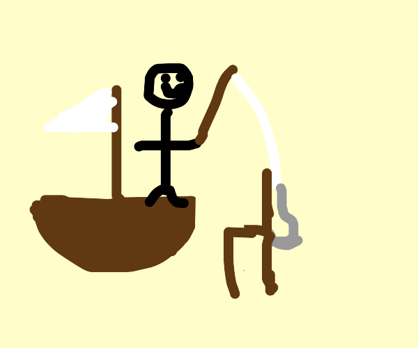 Guy on a boat fishing a couch out of the sea