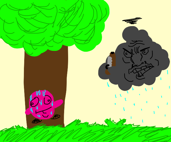Kirby hides from angry storm cloud