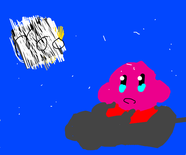 Kirby on lighting cloud going to the moon