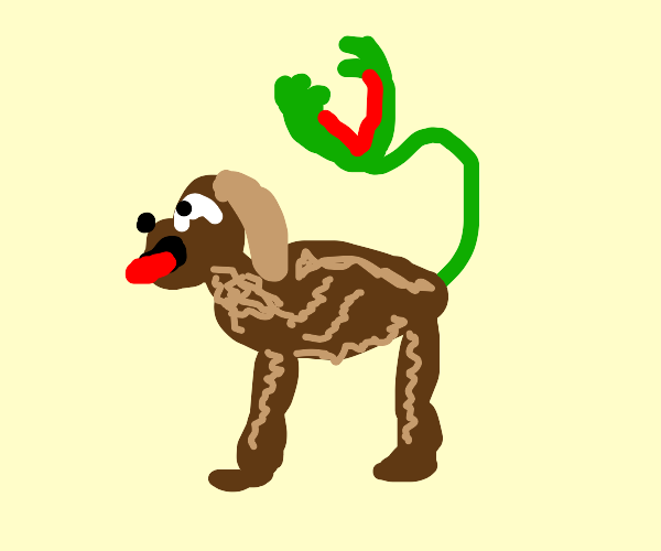 Dog with venus flytrap tail