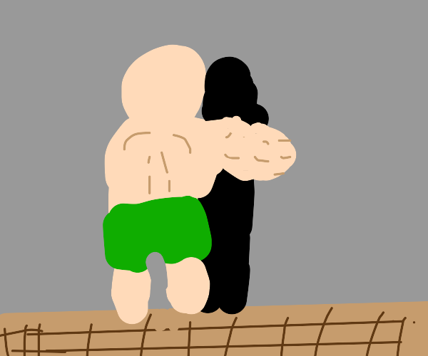 Buff man punches silhouette.