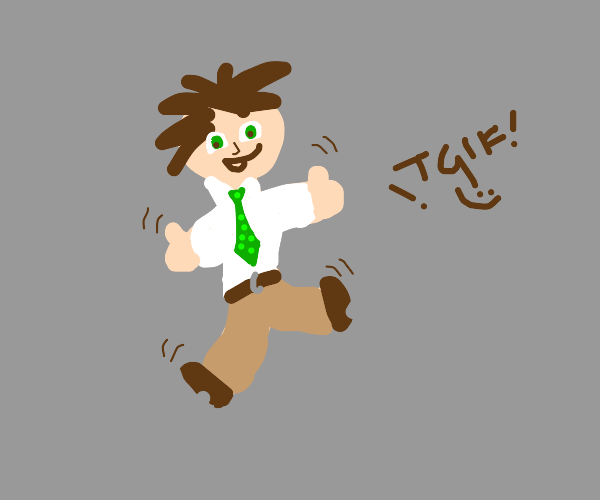 guy with green tie is excited