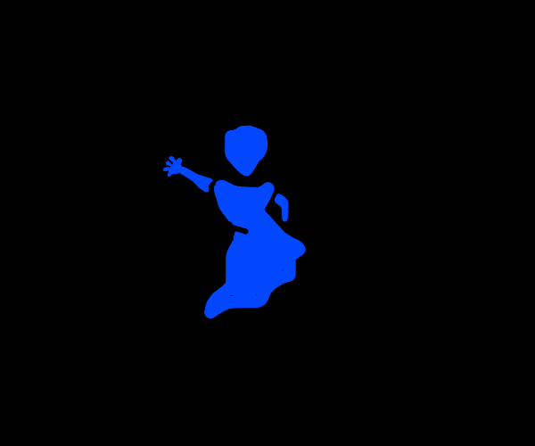 A welcoming blue woman in the void