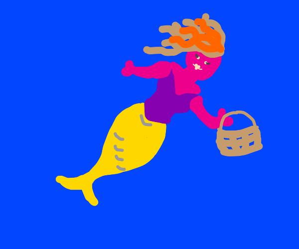 purple mermaid with basket
