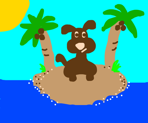doggo stuck in a desserted island