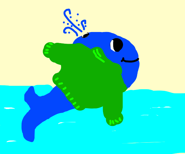 blue whale wearing a green sweater