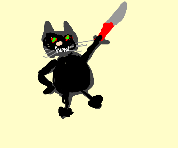 angry cat with a knife