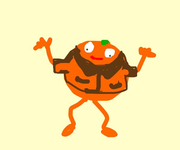 Orange wearing a jacket
