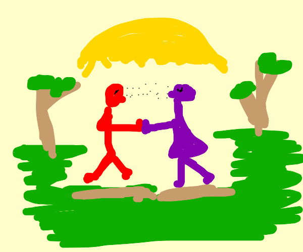 Red guy meets purple woman