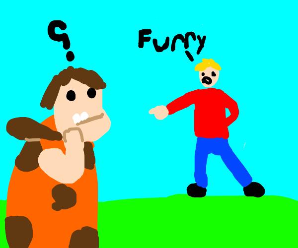 man calls caveman furry